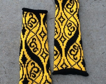 Wizard Houses, Waving Brocade Pattern Knitted Arm Warmers- Hufflepuff, Gold & Black