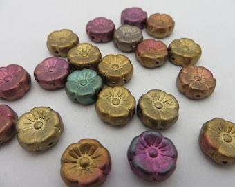 Mixed Matte Metallics Czech Glass Hawaaaii Flower Beads 11mm ( 20 Beads Full Strand ) Always Low Shipping!!
