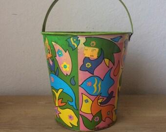 Vintage Large Ohio Art Sand Pail,Mod Fish Pattern, 1970s Sand Bucket, Beachy, Cottage Chic