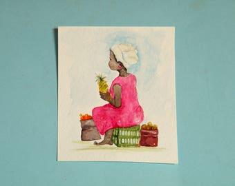 Original Aceo,  African fruit seller,  watercolor painting,  original painting,  South African scene,  thedinkydoodlestudio, VivienneEdwards