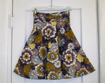 Floral High Waisted Skirt, Size Small