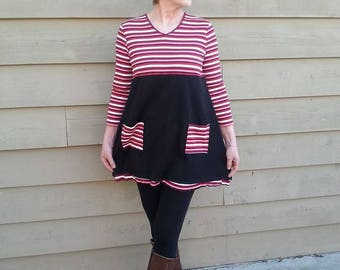 Upcycled Upcycle re purposed Medium Large tunic baby doll funky Eco fashion OOAK clothing Ladies dress teen dress By Upcycled Swag