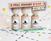 Choose 3 mini stamps out of more than 200 different designs - wedding stamps, birthday stamps, baby stamps, animal stamps, mini ink stamps