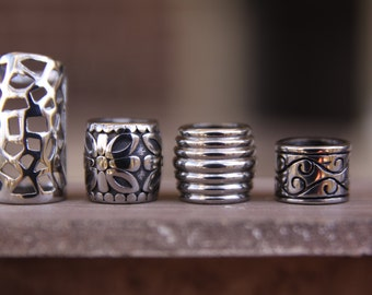 4 Stainless Steel 8mm/9mm Hole (5/16 Inch) Dreadlock Beads Hollow Flower Swirl