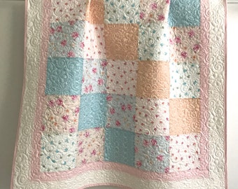 Modern Patchwork Baby Girl Quilt Sweet Baby Rose Collection Shades of Pink, Peach, Blue and White