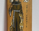 St. Francis of Assisi Wooden Plaque - Hand Painted - Made in W Germany - Religious Plaque - Animals - Collectibles - Wall Decor - Saints