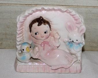 Ceramic Baby Planter - Nursery Decor - Trinket Dish - Vintage Nursery Decor- Girl - Bunny- Chick - Japan - Mid Century - Collectibles - Vase