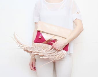 CARRIER 181 / Large leather purse- fringe clutch bag-bohemian purse-oversized leather bag-rose gold metallic bag-rose gold red-Ready to Ship