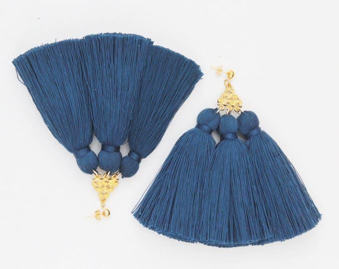 MAGICAL 2 / Tassel earrings-oversized earrings-silk tassels-metal statement earrings-blue earrings-ethnical tribal earrings-Ready to Ship