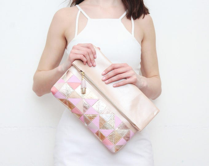EDGY 2 / Large natural leather bag- leather purse-metallic leather bag-oversized clutch-handbag-geometric clutch-nude pink- Ready to Ship