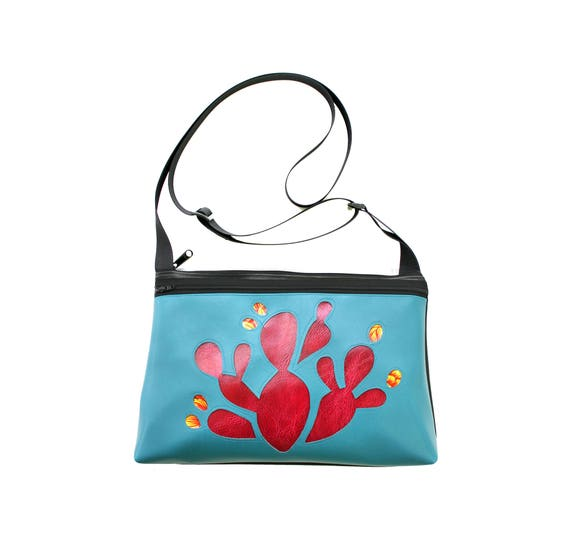 Prickly Pear cactus, hot pink vinyl, blue vinyl, medium crossbody, vegan leather, zipper top