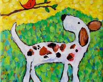 whimsical dog friends painting giclee art print choose your size Peggy Johnson
