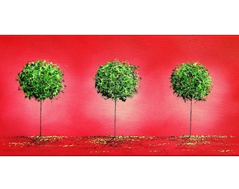 Contemporary Christmas Tree Art Print, Giclee Print of Original Oil Painting, Green Trees Landscape, Large Wall Art, Red and Green Decor