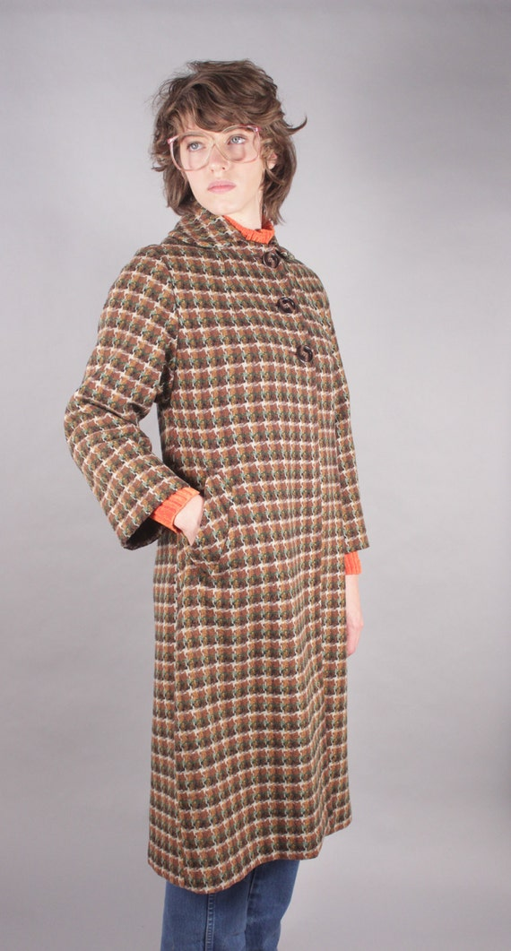 60s Brown Tweed Houndstooth Swing Coat
