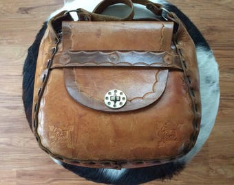 Saddle Bag Brown Leather Horse Purse - Vintage 60s