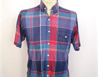 1980s Gant Madras Plaid Shirt / vintage preppy pink purple blue button-down half-sleeve / men's large