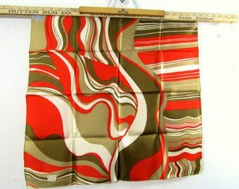 SALE Vintage Liberty of London Silk Scarf  NOSWT Olive Red RARE