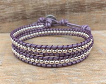 Leather Wrap Bracelet, Lavender Bracelet, Sterling Silver Wrap Bracelet, Sterling Silver Bracelet, Purple Bracelet, Mom Gift, Sister Gift
