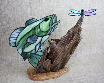 Large Mouth Bass Stained Glass With Dragonfly On Wood Base, Stained Glass Fish, Gifts for Men, Glass Art