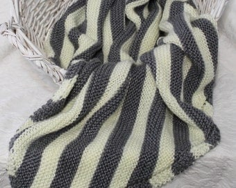 Soft Knit Baby Blanket in Gray and Cream Stripes