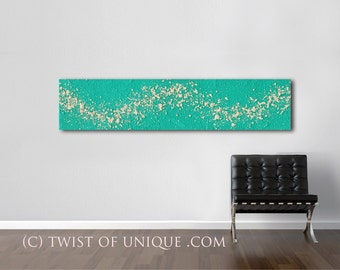 Large industrial abstract painting / ORIGINAL Painting / abstract painting/ Textured Art / 48x12 /Green, Ivory, white