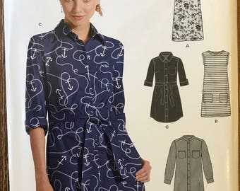 UNCUT Misses' Dress Sewing Pattern New Look 0616 Easy Dress, Casual, Button Down Dress, Ruffle, Spring Dress Size 8-10-12-14-16-18-20