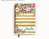 Personalized Planner 2017 - 2018 Calendar Agenda with Watercolor Floral on Butterscotch Stripes