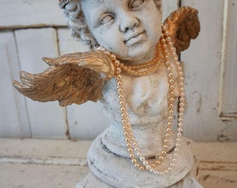 Cherub bust statue w/ ornate base French Santos angel head handmade crown painted distressed figure gold wings home decor anita spero design