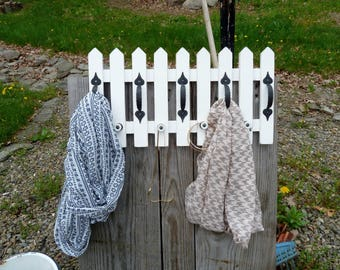 Wood Scarf Rack Jewelry Orgsnizer Garden Pickett Fence Cottage Chic