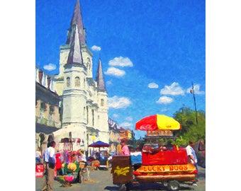 New Orleans Art, Lucky Dogs print, Hot Dog Stand art, French Quarter Scene, NOLA Street Scene, Giclee Print 8x10 11x14 16x20 - Korpita