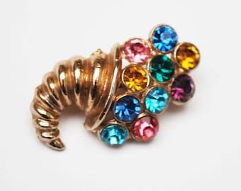 Cornucopia Brooch - Multi Color Rhinestone - Gold Tone Vintage  Jewelry