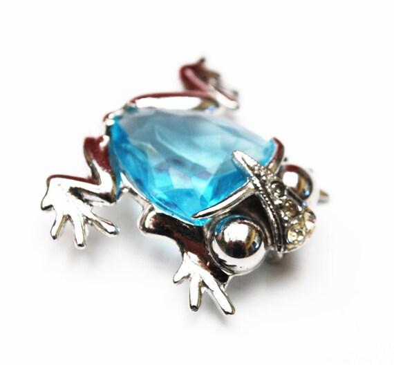 Sterling Blue Glass Frog Brooch - Silver - bluish Crystal -  clear rhinestone -  figurine pin