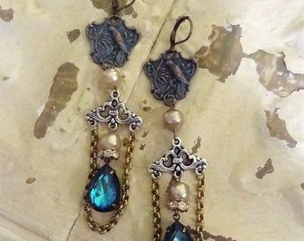 Vintage Assemblage Earrings, Bird Earrings, Bermuda Blue Rhinestone Earrings, Blue Crystal Earrings, Vintage Rhinestone Earrings