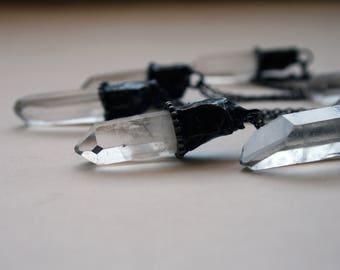 Medium Clear Quartz Crystal Necklace // White Quartz Crystal Point Minimal Layering Necklace