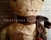 E-PATTERN PDF Instant Download Extreme Primitive Folk Art Early Vintage Style Valentine Snowman Doll with Heart Sweetpeas Primitives