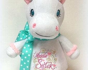 Jumbo Personalized White Unicorn Stuffed Animal - Middle Sister - Ready To Ship