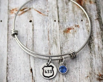 Wire Bangle - Charm Bracelet - Police Badge - Personalized - Police Officer - Birthstone - Police Wife