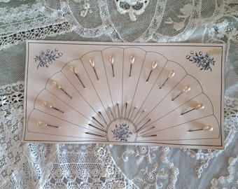 One Dozen Pearl Drop Victorian Hat Millinery Pins on Original Fan Card Wedding Corsage Pins Antique Hat Millinery Pins