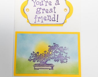 You are a great friend - bonsai - oriental card - friendship cards - hand made cards