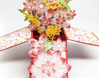 Fancy Hand made cards : Pop Up box card - Stampin Up cards - Mother's Day Cards - Birthday cards - Valentines - Smile - Happy - 3D cards