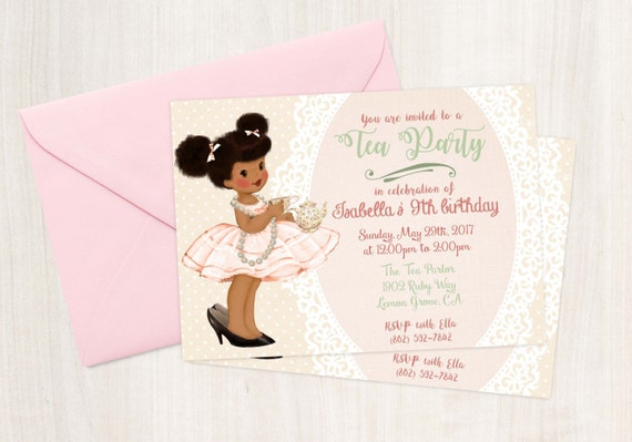 Vintage Tea Party Birthday Invitations, Cute Birthday, Girl Birthday Invitations, Tea Party Birthday, Printable Invitation, African American