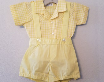 Vintage Boys Yellow Overall Shorts and Yellow gingham shirt by C.I. Castro- Size 6-9 months- New, never worn
