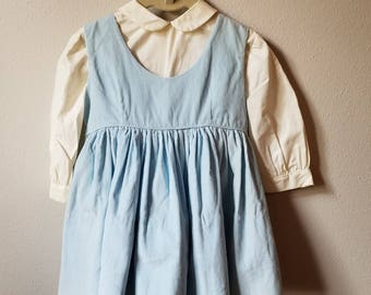 Vintage Girls White Blouse and Blue Corduroy Jumper- size 2t- New, never worn