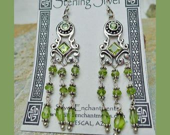 Peridot Earrings, .925 Silver Art Deco Swag Chandelier Earrings, Sterling Silver and Gemstone Earrings - ER-130X