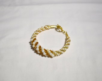 Gold and white beaded bracelet, beaded kumihimo bracelet, braided bracelet, beaded rope bracelet