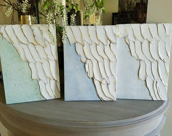 Angel Wing Art, Guardian Angel, Abstract wing wing on wood with gold leaf, ethereal, heavenly 11 x 16, Choose Background Color