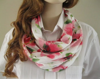Pink and white infinity scarf, flower print