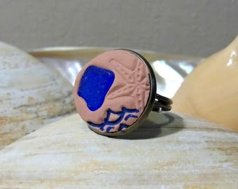 Blue Sea Glass Ring, Aromatherapy Ring, Oil Diffuser Ring, Essential Oil Ring, Diffuser Ring, Diffuser Jewelry, Diffuser, Oil Diffuser, Ring