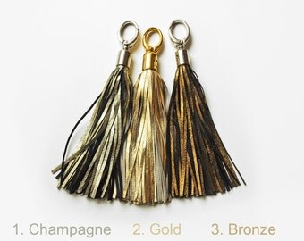 Leather Tassel, Champagne, Gold or Bronze long tassel, Large tassel