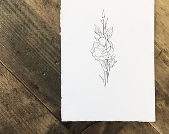 Original Ink Illustration of Lisianthus - Drawing - Gift - Flowers